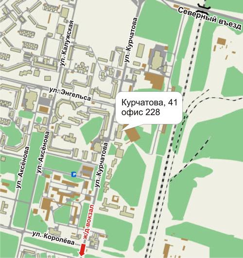 Схема проезда в Обнинске →